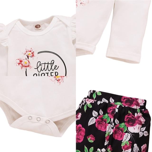 2 PIÈCES Bébé Nouveau-Né Filles Vêtements Ensemble Solide Barboteuse Combinaison Hauts Pantalons Floraux Tenues Vêtements Ensemble 0-18Months