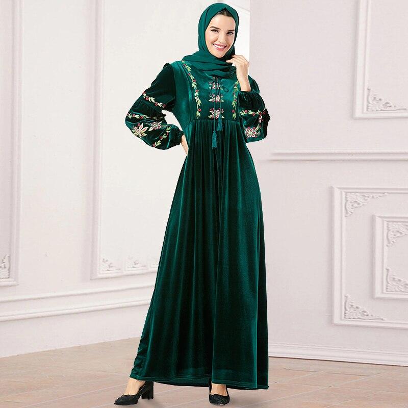 Siskakia velours broderie florale longue robe ample grande taille urbain décontracté Maxi robes lanterne manches gland conception de cordon
