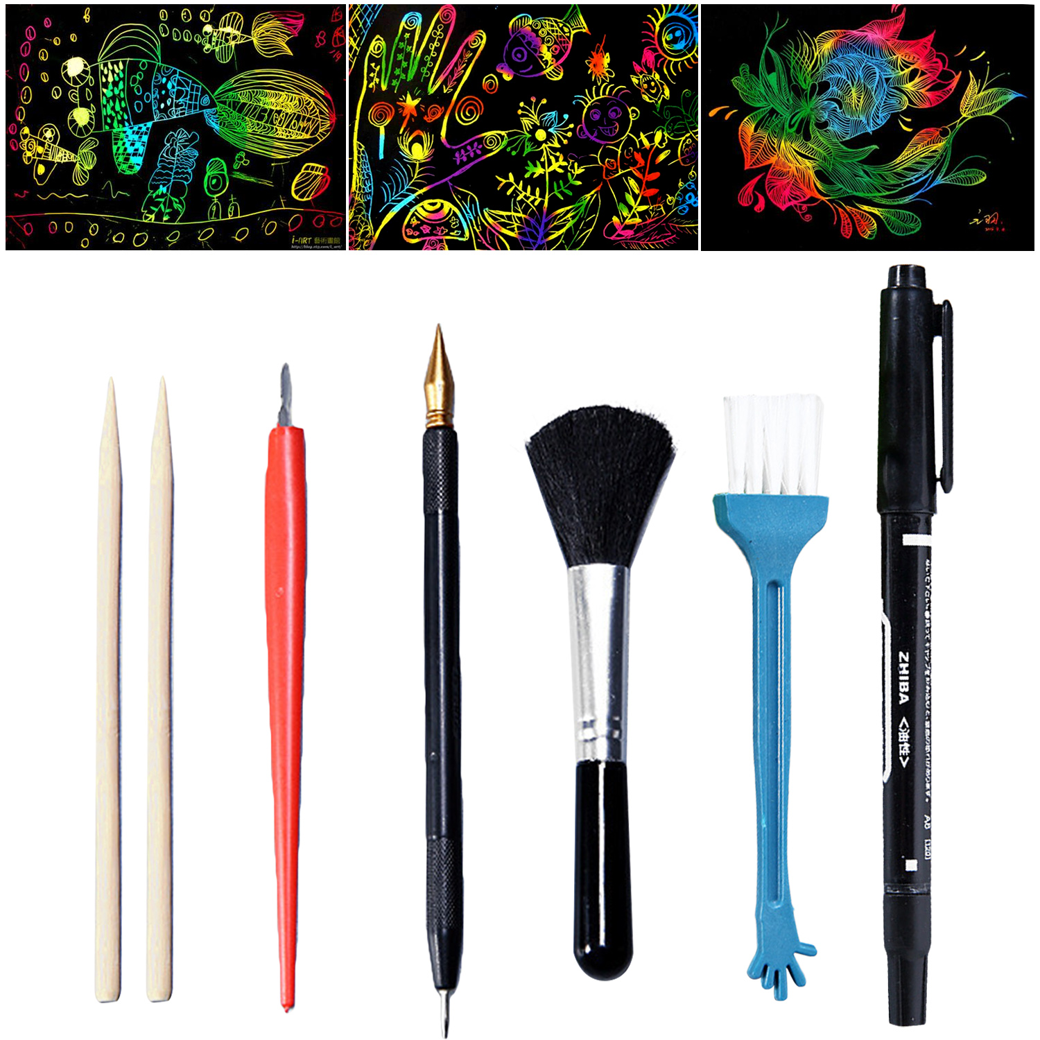 7PCS Magic Scratch Art Scraping Painting Tools Bamboo Sticks Scraper Repair Scratch Pen Black Brush DIY Painting Coloring Toy