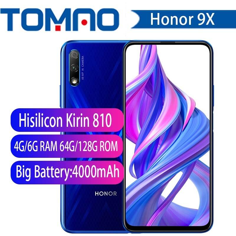 Ehre 9X Smartphone Honor 9X 4000mAh Batterie 7nm Kirin 810 48MP Auto pop up caemra Google Spielen unterstützung