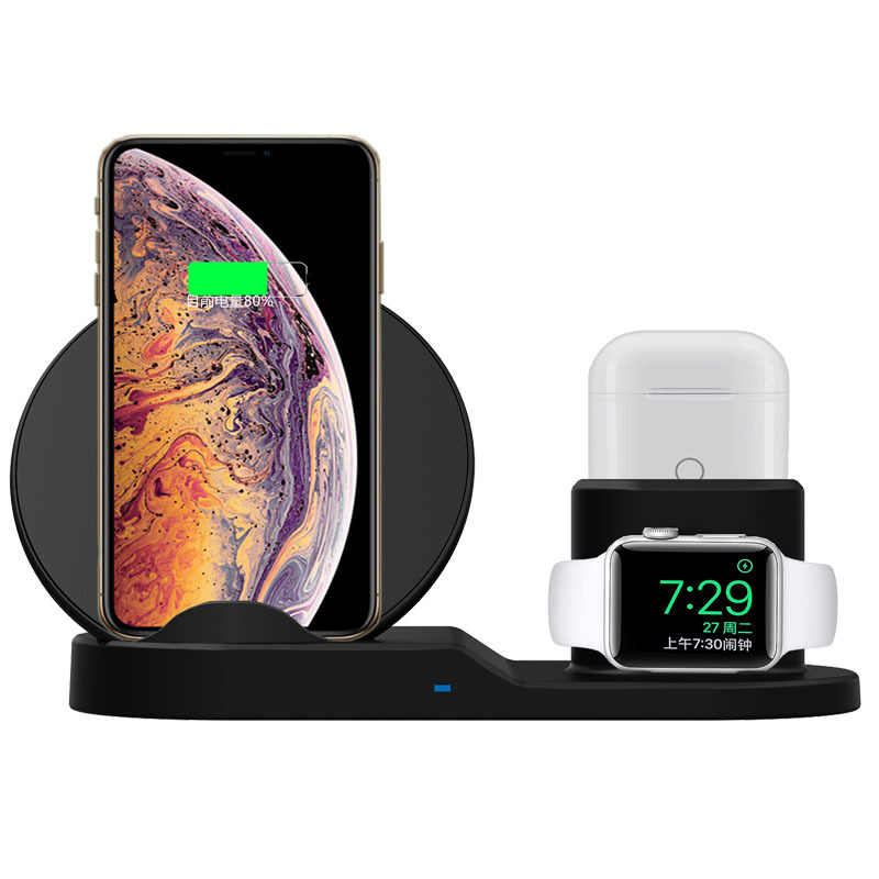 3 In 1 Fast Wireless Charger For Apple Watch Series 1 2 3 4 Airpods Quick Wireless Charger Dock for iPhone XR XS MAX X 8 plus