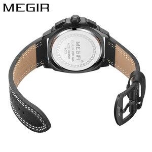 Image 2 - Megir Casual Sport Horloges Voor Mannen Zwart Top Merk Luxe Militaire Lederen Polshorloge Man Klok Fashion Chronograph Horloge