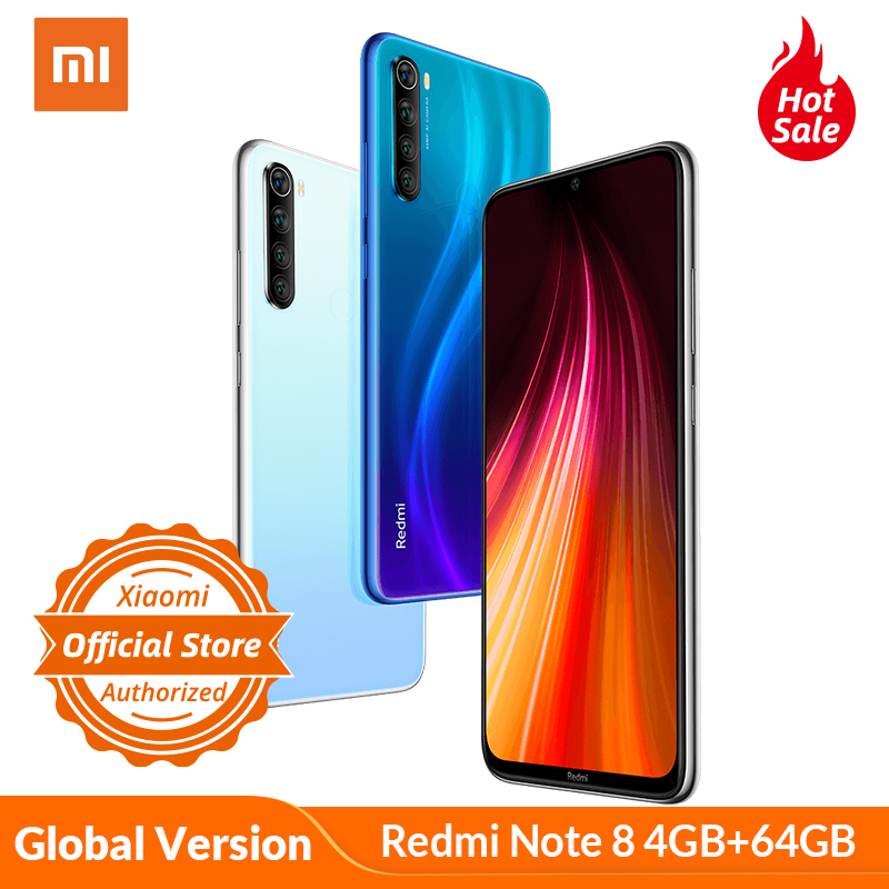 Global Version Xiaomi Redmi Note 8 4GB 64GB Mobile Phone 4000mAh 18W Fast Charge Smartphone Snapdragon 665 Octa Core 48MP Camera