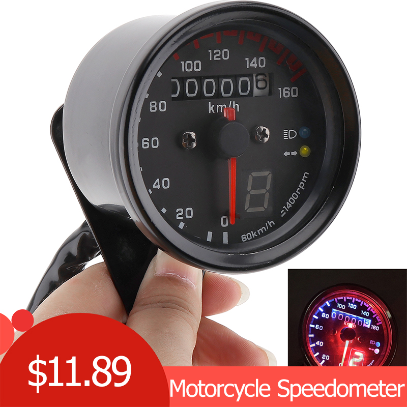 Motorcycle Cafe Racer Speedometer Odometer Gauge 0-160km/h Instrument with LED Indicator