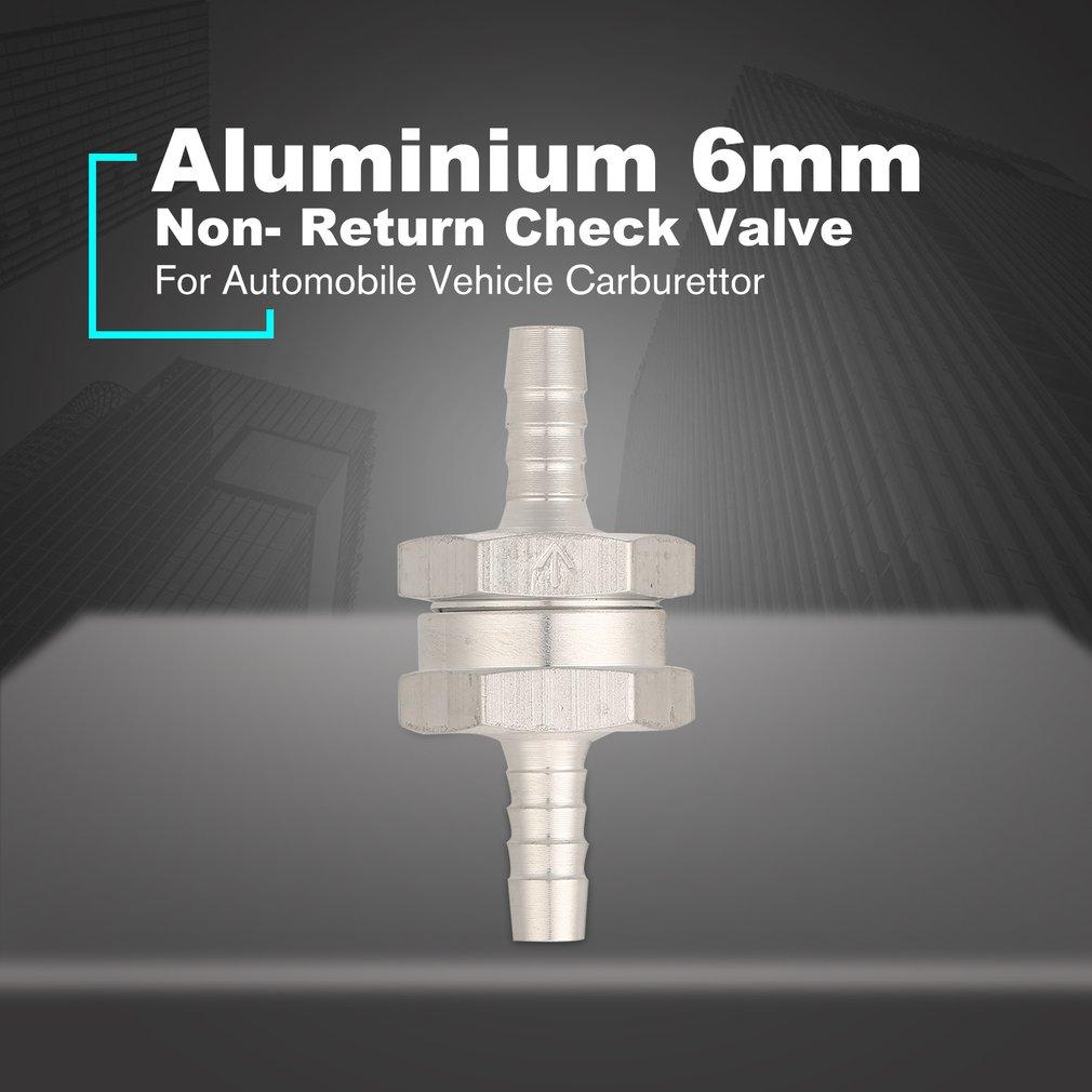 1Pcs  Aluminium Check Valve 6mm Fuel Non- Return Inline Check Valve Vacuum Hose One Way For Automobile Vehicle Carburettor