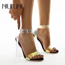Хрустальные прозрачные градиентные сексуальные женские сандалии