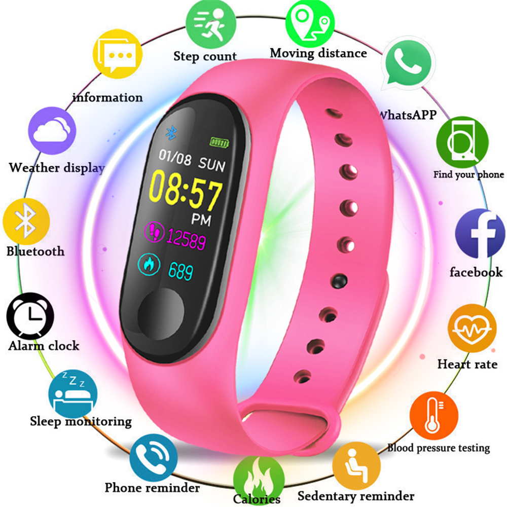 M3 Smart Watch Bracelet Band Fitness tracker Wristband Heart Rate Activity Screen Smart Electronics Bracelet watch image