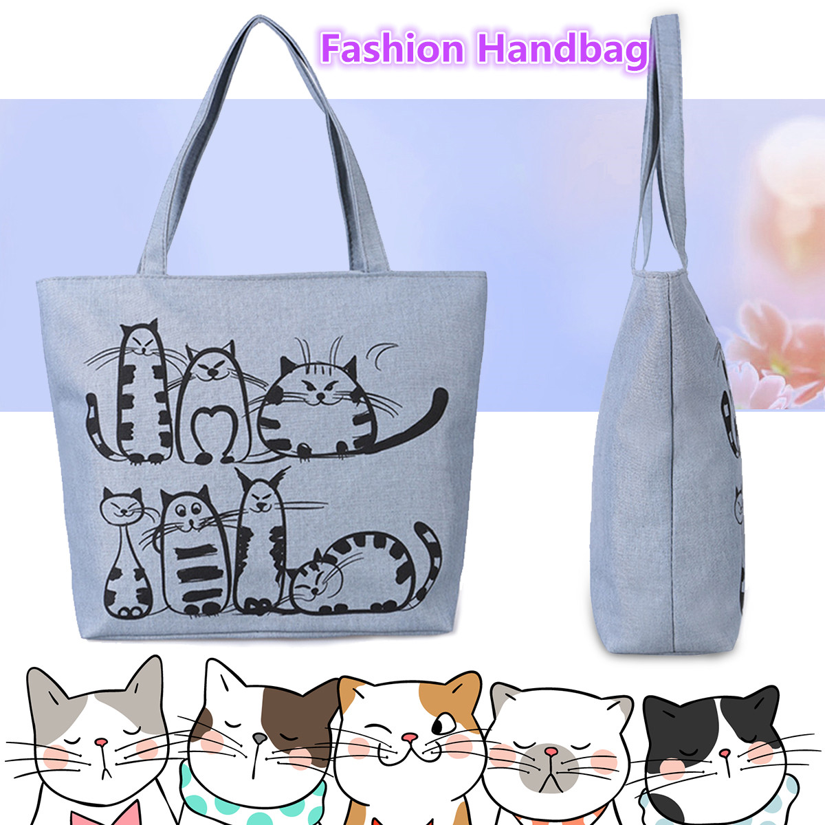 New Reusable Shopping Bag Fashion Women Canvas Tote Bags Printing Eco Bag Cartoon Bolsa De Compras Shopper Shoulder Bags