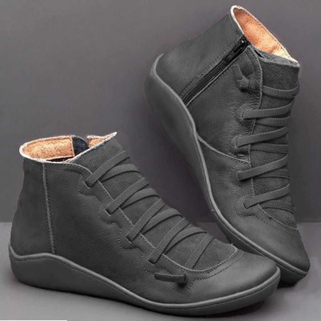 נשים העקב שטוח עגול ראש מגפיים מקרית עור רטרו שרוכים מגפי צד רוכסן בוהן עגול נעל אישה שלג מגפי chaussures femme