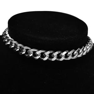 Chain Choker Necklace Jewelry Collares Cuban-Link Chunky Stainless-Steel Hip-Hop Silver-Color