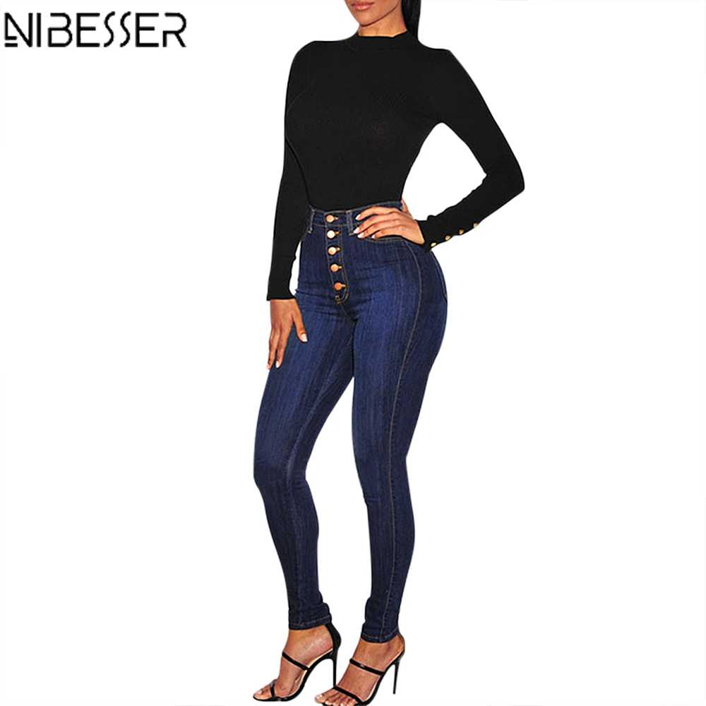 NIBESSER Fall 2019 Stretch Hoge Taille Jeans Vrouwen Warm Winter Casual Straight-breasted Denim Broek Femme Denim Broek Plus size