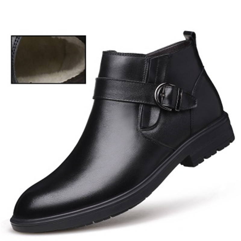 Genuine Leather Non-slip Men Autumn Ankle Boots Winter Super Warm Plush Snow Boots Fashion Buckle Male Business Dress Booties