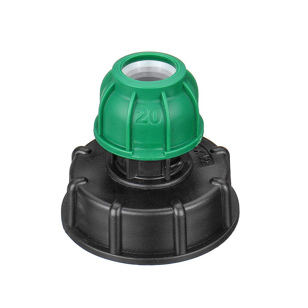 60x6 IBC Tank Drain Adapter Thread Outlet Tap Water Connector Replacement Green PP Ball Valve Fitting Parts For Home Garden