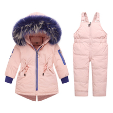 Down filling Winter Ski Suits for Girls Clothes Children Overalls Warm Windproof Snowsuit Jacket Coat Jumpsuit Kids Clothing winter down jacket boys and girls clothing sets new baby winter clothes children ski suit down jacket coat overalls warm kids