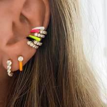 2020 lato gorąca sprzedaży bez przekłuwania uszu Neon emalia ear cuff klip na kolczyki kolorowe moda kobiety biżuteria