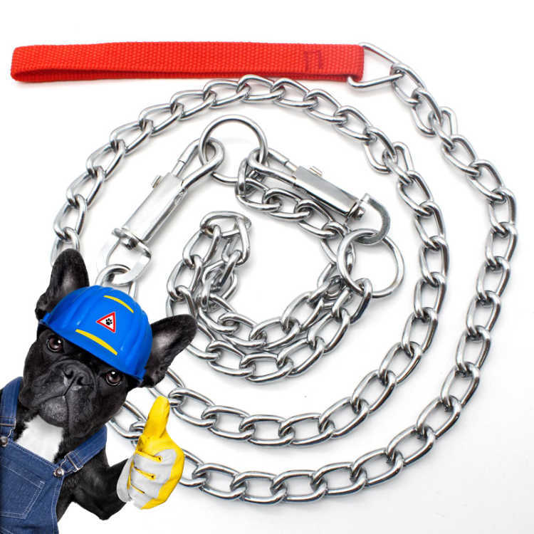 Dog Chain Pet Traction Rope 1.2 M/1.7 M Metal Chain Iron Neck Ring Stainless Steel Suppository Dog Rope
