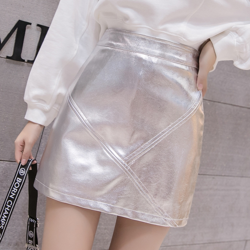 2019 Metallic color Faux leather Skirt New Women High Waist A lined Bright color mini short Skirts Femme black Silver 2 colors image