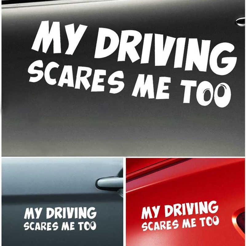 19*6CM reflectante mi conducción ME asusta demasiado pegatina de coche de advertencia de seguridad trasera Car Styling accesorios de motocicleta divertida