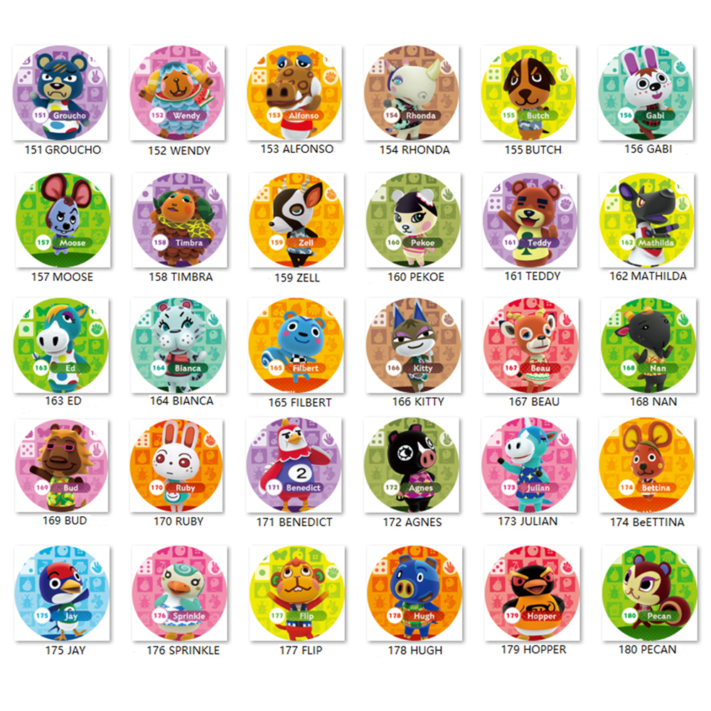 Animal Crossing Card (151 To 180) Amiibo Ntag215 Card Work For NS Games Series 1