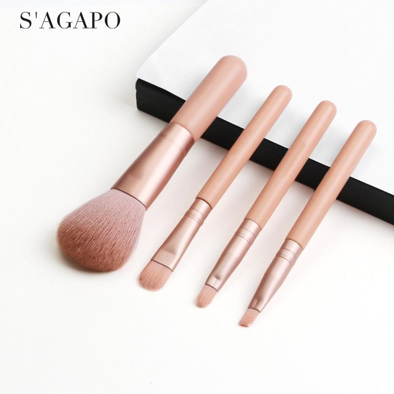 S'AGAPO 4 шт. набор кистей для макияжа Профессиональная кисть для теней для век микро кристальная шелковая основа для волос румяна консилер кисти для макияжа|Аппликатор теней для век|   | АлиЭкспресс - Кисти для макияжа