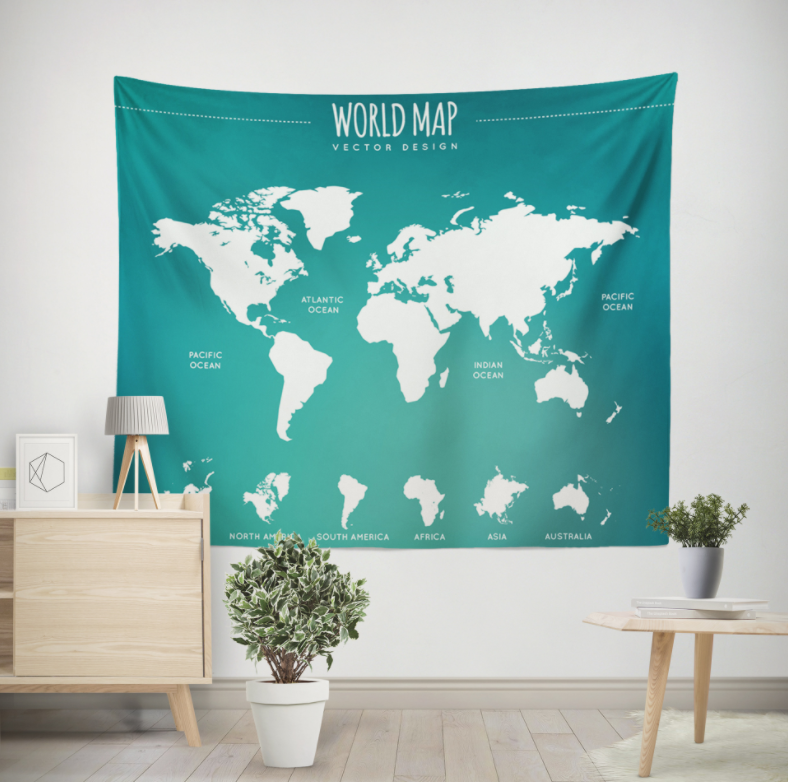 World Map Color Printing Home Fabric Decorative Tapestry Hanging Drawing 150x200cm Atlases