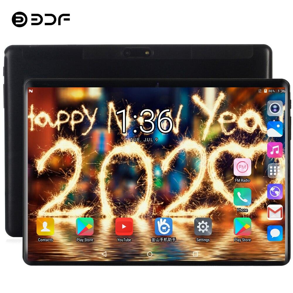 Tabuleta de bdf 10 Polegada 3g/4g lte telefone chamada dupla sim cartão android 9.0 tablet pc 8 gb/128 gb guia dez núcleo 1920*1200 ips pc tablet 10.1