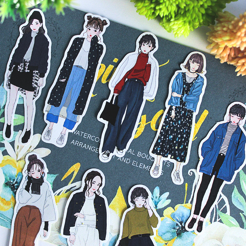 19PCS Cute Girl Stickers DIY Scrapbooking Album Journal Happy Planner Crafts Decorative Stickers Package
