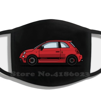 Abarth 595 Red Printing Washable Breathable Reusable Cotton Mouth Mask Abarth 500 Fiat Red Car Italian 595 Automotive Italy image