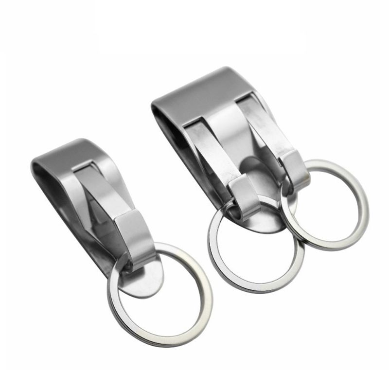 Stainless Steel Keyring Security Clip On Heavy Duty Belt Key Clip Belt Keychain 2 Detachable Keyrings Belt Key Holder