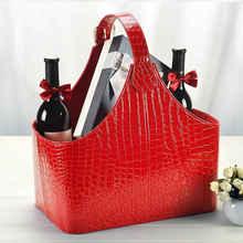 Leather hand bag gift basket storage baskets snacks fruit set debris blue