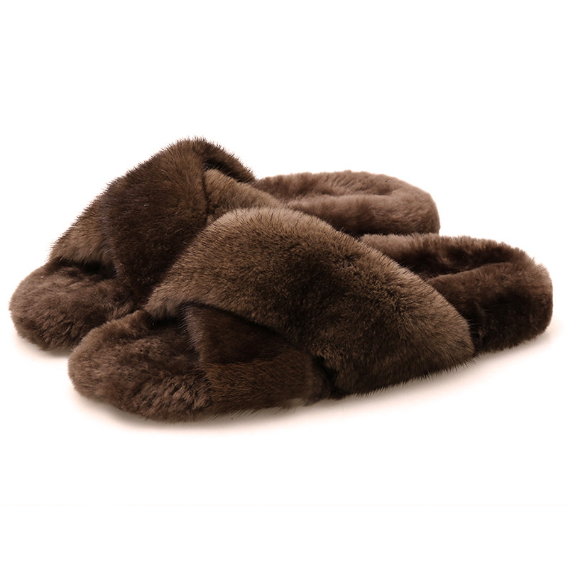 European Station Mink Fur Slippers Autumn And Winter New European And American Fur One Wool Sole Shoes Lazy Drag Warm To Wear