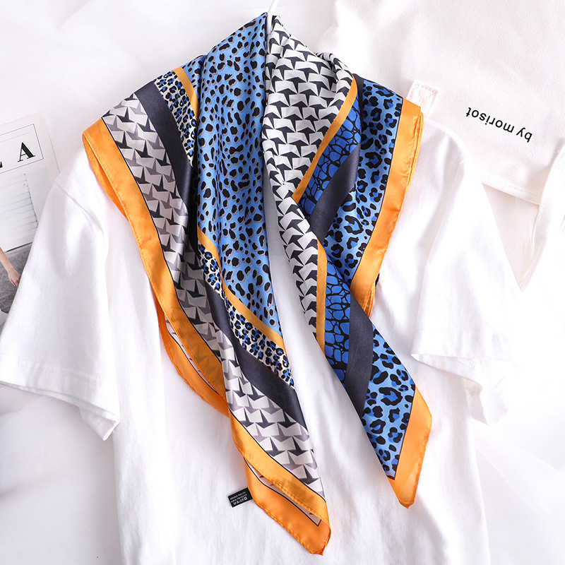 Luxury Leopard Print Silk Satin Scarf For Women Small Shawls Fashion Kerchief Neck Scarves Female 70*70cm Head Scarfs For Ladies