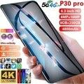 2021 Hawei P30 Pro 6,3 капли воды Экран 10-ядерный смартфонов 8 ГБ + 256 ГБ 16MP Face ID открытые мобильные телефоны глобальной Vershion