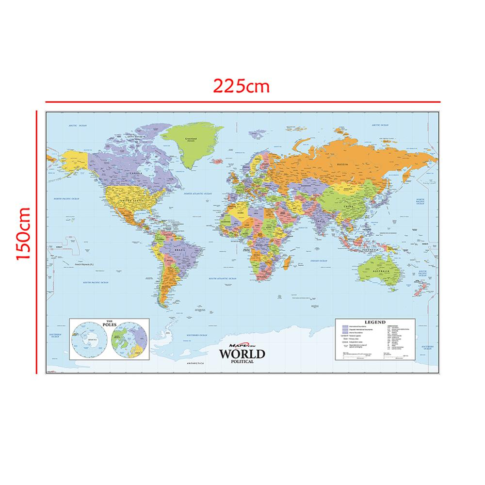 150x225cm The World Physical Map Non-woven Waterproof Without National Flag For Education And Culture