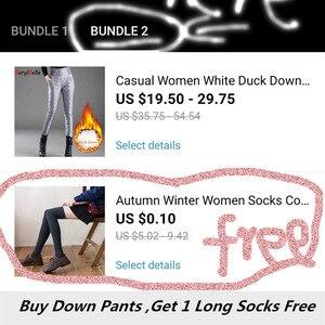 Image 4 - מזדמן נשים לבן ברווז למטה מכנסיים החורף עבה חם Slim גבוהה מותן מכנסי עיפרון לנשים בתוספת גודל מכנסיים Feme Berylbella