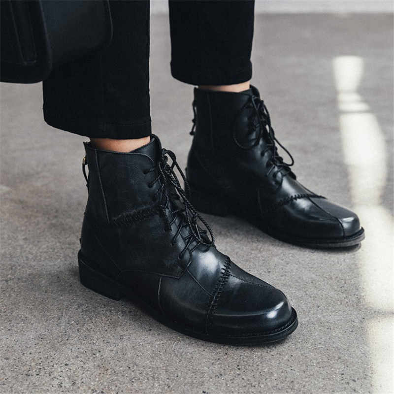 Prova Perfetto 2020 Autum שטוח מגפי עור אמיתי רטרו בעבודת יד נשים מגפי וינטג תחרה עד נעליים יומיומיות אישה botas mujer