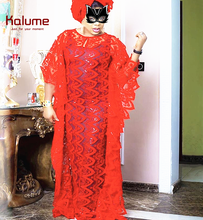 Kalume Applique 3D African Lace Fabric Soft French Milk Silk Red Nigerian Tulle With Sequins For Wedding F1906