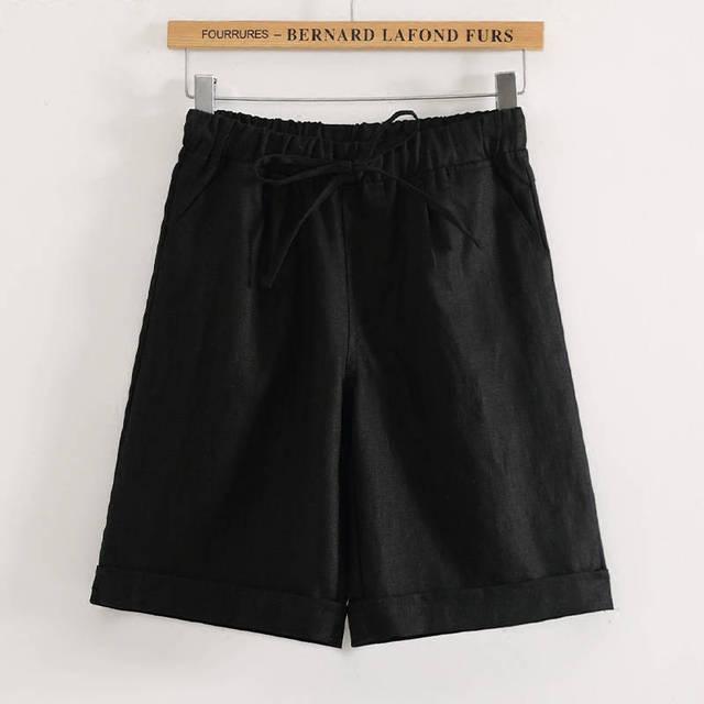2020 Women's Capris Elastic High Waist Trousers Wide Leg Half Plus Size Shorts Summer Casual Loose Knee Length Shorts M-4XL