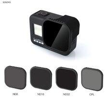 Filtro protector 4 en 1 para objetivo ND (ND 8 16 32)CPL, juego de filtros para lentes para Gopro Hero 8, accesorios para Cámaras Deportivas negras