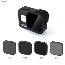 Filtro protetor de lente 4 em 1, nd 8 16 32) conjunto de filtro de lente cpl, acessórios para câmera, para gopro hero 8 black