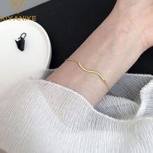 XIYANIKE de Plata de Ley 925 nuevo diseño de estilo coreano Agua De Oro pulsera con olas minimalista Retro joyería de moda Браслет regalos