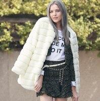 2019 Winter fur coat medium long overcoat faux outerwear Women Plus Size Winter Coat XXXL doudoune femme fourrure manteau X714