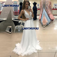 V Neck White A Line Arabic Evening Dress 2019 Lace Appliques Crystals Beads Formal Dresses Evening Prom Gowns Abendkleider 2019