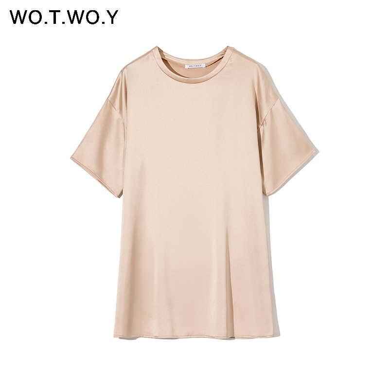 WOTWOY 여름 솔리드 실크 티셔츠 드레스 여성 기본 느슨한 미니 드레스 여성 반팔 캐주얼 블랙 화이트 탑스 Femme Soft 2020