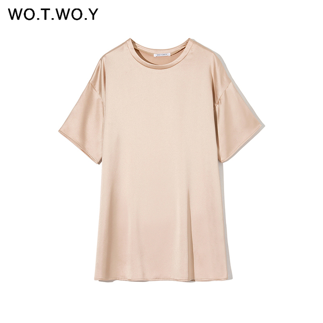 WOTWOY Summer Solid Silk T-Shirt Dress Women Basic Loose Mini Dress Women Short Sleeve Casual Black White Tops Femme Soft 2020