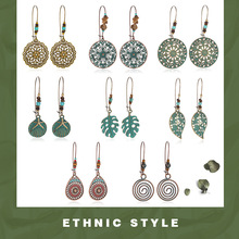 Leaves drop Earring Bohemian Vintage gold green Hollow long for Women accessories 2020 Party ethnic dangle Earrings Boho Jewelry 5 colors vintage drip glaze earring bohemian boho ethnic dangle drop earrings for women s 2020 fashion party jewelry accessories