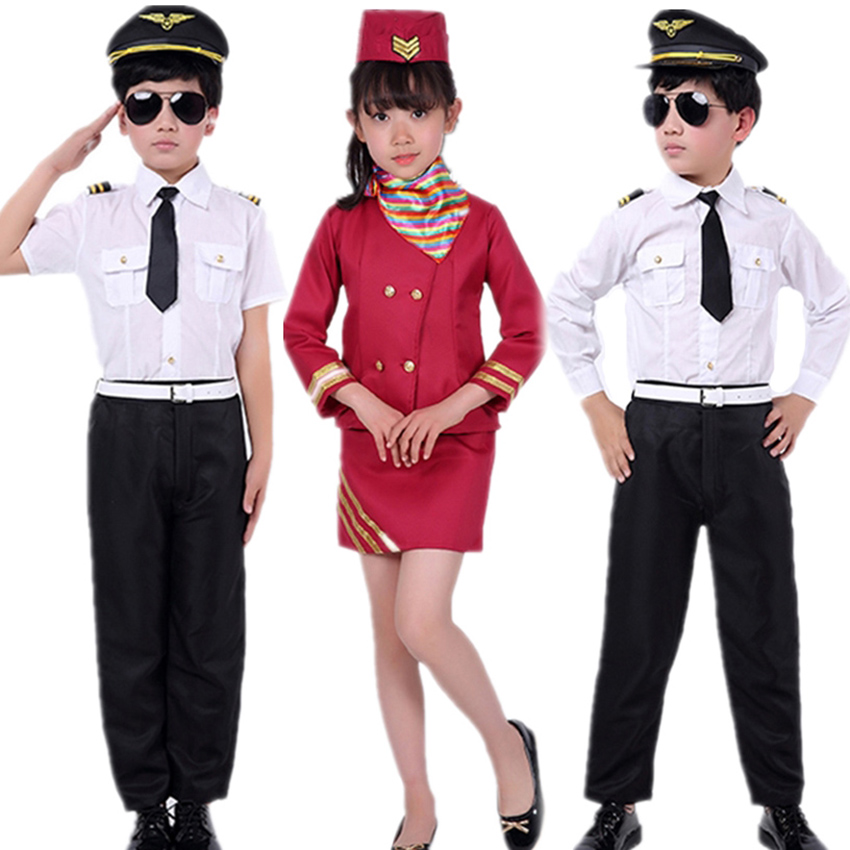 Stewardess Role Play Pilot Uniform Kdis Costume Girls Military Boys Flight Attendant Clothing Halloween Costume For Kid Disguise