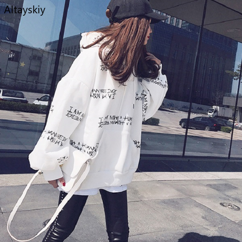 Hoodies Women Printed Simple Loose Long Style Soft All-match Autumn 2020 Womens Letter Hooded Pullover Female Lovely Korean Chic