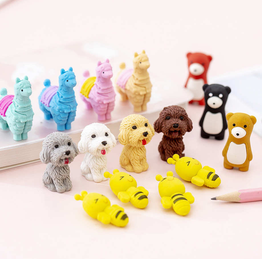2pcs Cute Dog Bear Animals Rubber Pencil Eraser Stationary School Supplies Items Kawaii Office Cartoon Kids Gift Students Prizes
