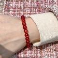 8 мм натуральный красный прозрачный браслет натуральный драгоценный камень бисер браслет для мужчин и женщин браслеты с подвесками с крист...